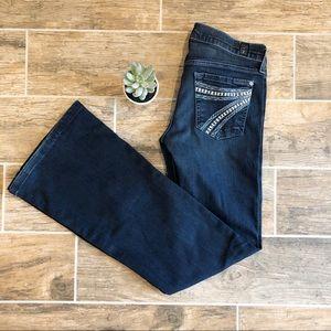 7FAM Dark wash Dojo Flared Jeans. Size 25